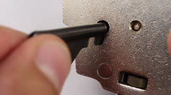 The key opens the lock in handcuffs Stock Footage
