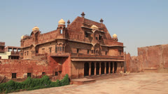 India Rajasthan Fort Pokaran ruddy building with lemon drop domes  Stock Footage
