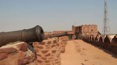 India Rajasthan Fort Pokaran wall cannon on brick crenel  Stock Footage