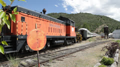 Railroad cars parked and rusting at train graveyard, 1010  Stock Footage