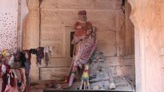 India Rajasthan Fort Pokaran altar display with figures  Stock Footage