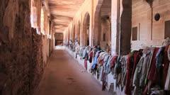 India Rajasthan Fort Pokaran rags arranged along corridor  Stock Footage