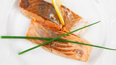 Fish entree : roasted salmon fillet Stock Footage