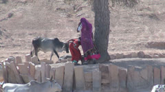 India Rajasthan temple water hole woman in violet sari 6 Stock Footage