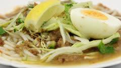 Asam Laksa Rice Noodles Stock Footage