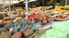 Fruit and vegatables sold on the street - stock footage