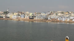 India Pushkar sacred lake Stock Footage