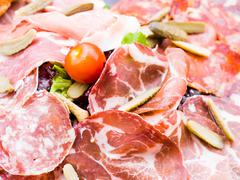 close up of tasty cold meats - stock photo
