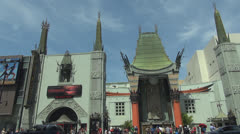 Pan right of Chinese Theater and traffic street by day, Hollywood Boulevard, LA Stock Footage