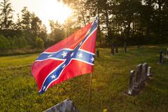 Confederate flag in an old cemetery Stock Photos