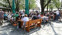 Beer garden in Munich, Germany Stock Footage