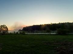 Morning fog, the sun rises. 4x3 Stock Footage