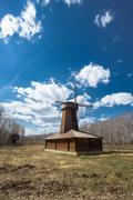 wooden windmill - stock photo