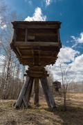 hut built on piers - stock photo