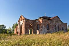 ruins of the church - stock photo