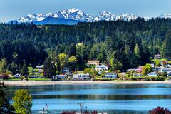 Poulsbo bainbridge island puget sound snow mountains olympic national park wa Stock Photos