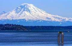 Stock Photo of mount rainier puget sound north seattle snow mountain washington state