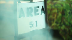 Area 51 sign fog 1 Stock Footage