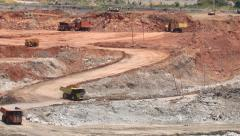 Pan open pit lignite mine Stock Footage