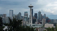 Seattle urban city Space Needle skyline cityscape HD 6765 Stock Footage