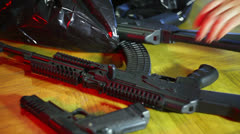 Disposal of guns weapons Stock Footage