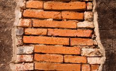 big rectangle brick wall - stock photo