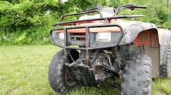 Muddy four wheeler steadycam shot Stock Footage