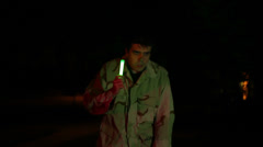 Soldier with glowstick glow stick Stock Footage
