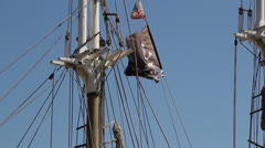 Jolly Roger Pirate Flag Waving Stock Footage