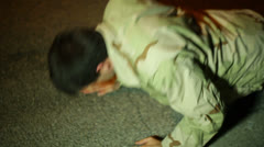 Soldier military guy pushups exercise night Stock Footage
