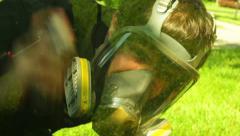 Spray paint using spraying Stock Footage