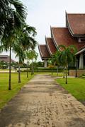walkway in temple - stock photo