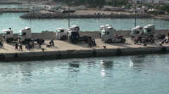 Traffic on the jetty (2) Stock Footage