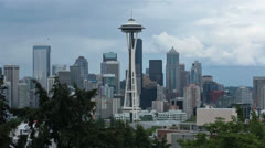 Space Needle urban Seattle city center HD 6766 Stock Footage