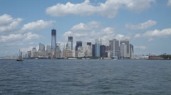 New York Skyline from Staten Island Ferry on water Stock Footage