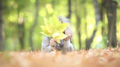 Child in autumn Stock Footage