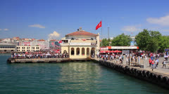 People waiting the ships in Kadikoy Pier Stock Footage