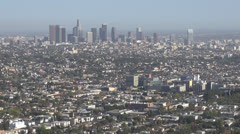 Aerial view of Downtown Los Angeles in a foggy day, LA California, USA Stock Footage