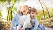 Children in autumn. fisheye shot Stock Footage