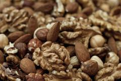 Stock Photo of nuts background closeup