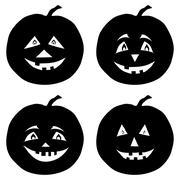 Pumpkins Jack O Lantern, silhouettes Stock Illustration