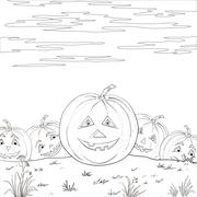 Halloween pumpkins army, contours - stock illustration