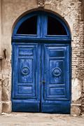 Stock Photo of old wood blue door