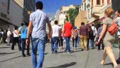People walking toward to Taksim on Istiklal Street Stock Footage