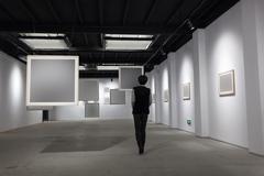 Blank frame in art gallery Stock Photos