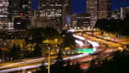 Seattle night timelapse city skyline traffic Stock Footage