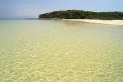 clear waters at the beach in viveros island. las perlas archipelago - stock photo