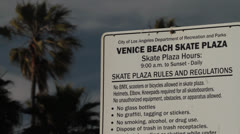 USA Venice Beach skate plaza sign Stock Footage