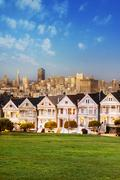 Alamo square at twilight Stock Photos