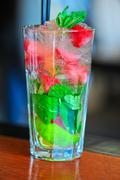strawberry mohito cocktail - stock photo